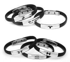 Mens Womens Constellation Stainless Steel Wristband Bangle Clasp Cuff Bracelet A