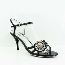 WOMENS LADIES STRAPPY MID HIGH HEEL ANKLE STRAP COURT SHOES SANDALS SIZE 3-8