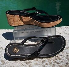 Donald Pliner Couture Cork Wedge Patent Leather Thong Strap Sandal Shoe $285 NIB