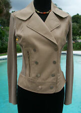 Cache Jacket Top New Size S/M/L Perforated pLeather Rib Knit Stretch $168 NWT