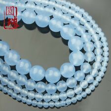 1Strands Natural Blue Sea Sediment Jasper Ball Loose Beads 15.5inch B7345