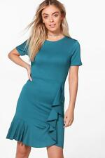 NEW Boohoo Womens Abbey Frill Detail Wrap Shirt Bodycon Dress in Polyester