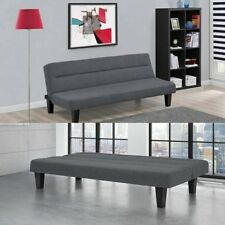 Convertible Sofa Bed Futon Upholstery Fabric Cover Sleeper Chaise Seat Charcoal