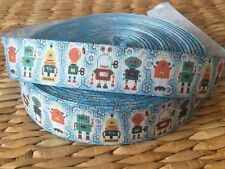"1, 3 or 5 yards ROBOT LOVE 7/8"" grosgrain ribbon- FLAT RATE SHIPPING"