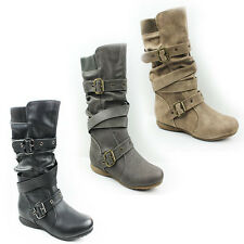 WOMENS LADIES CASUAL SLOUCH FASHION FLAT MID CALF BOOTS BOOTIES SHOES SIZE 3-9