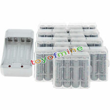 48x AA 3000mAh 1.2V Ni-MH GREY Color Rechargeable Battery Cell +12x Case+Charger