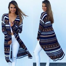 Women's Lady Printed Long Loose Cardigan Knitted Sweater Knitwear Outwear LOT ST