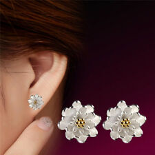 1Pair Flower Silver Plated Ear Studs Earrings Women Elegant Jewelry*v*