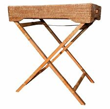 Large White Wash or Brown Rattan Butlers Tray Side Table or Bedside Table