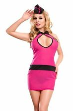 YesX Sexy Lingerie Air Stewardess Costume Dress Set Pink