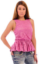 Women's Beverley Peplum Lace Scoop Neckline Sleeveless Blouse Tops