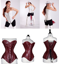White Maroon Real Leather Corset Over bust Steel Bones Lace up Back Front Busk