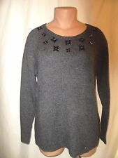 Lane Bryant Beaded Floral Cable Knit Scoop Neck Rib Edges Sweater Charcoal NWT