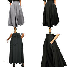 Women High Waist Long Skirt Dress Pleated A Line Front Slit Belted Maxi Skirt a