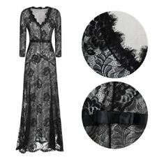Women Floral Lace Deep V-neck Three Quarter Sleeve Belted Long Maxi Dress