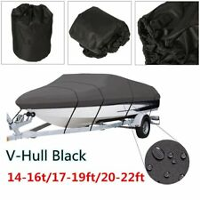 BOAT COVER 14' 17' 24' FT V-HULL for BASS RUNABOUT BOAT GRAY STORAGE COVERS KQ