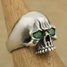 Handmade 925 Sterling Silver Green CZ Eyes Skull Ring Mens Punk Gothic Ring TA62