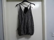 Beautiful Next Womens Silver Black Glitter Viscose Party Crop Top RRP-£18