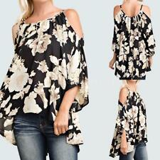 Plus Size Women 3/4 Sleeve Floral Shirts Summer Blouse Tops Loose T Shirt F9K1