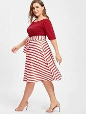 Women Short Sleeves Red Color Striped Belted Knee Length Midi Dress I342