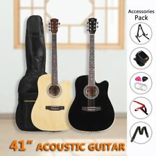 "41"" Inch Wooden Guitar Set Folk Acoustic Classical Cutaway Steel String 2colors~"