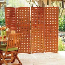 "Eucalyptus Wood Lattice 42"" Ht 4 Panel Outdoor Privacy Screen Fencing 2 Colors"
