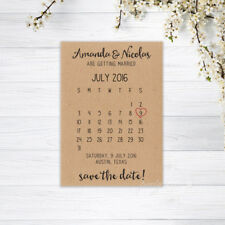 SAVE THE DATE CARDS CALENDAR PERSONALISED INVITATIONS WEDDING RECYCLED BROWN