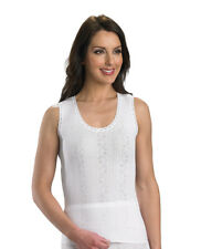 Slenderella Ladies 100% Cotton Sleeveless Camisole Seamless Lace Trim Cami Top