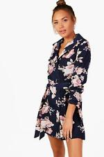 NEW Boohoo Womens Han Floral Belted Shirt Dress in Polyester