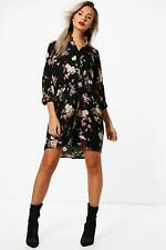 NEW Boohoo Womens Bella Floral Shirt Dress in Polyester