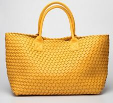 Large Faux Leather Woven Top Handle Tote Handbag