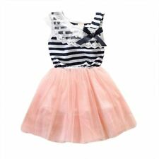 Cute Dress 2-6Y Kids Girls Stripe Lace Tutu dress Brace Bowknot One-piece Dresse