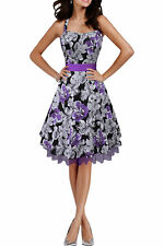 'Rhya' Vintage 50's Floral Swing Pin Up Rockabilly Party Prom Dress Size 8-24 BN