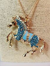 Blue Rhinestones Horse Poni Pendant Sweater Necklace