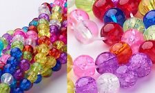 HOT Crackle Glass Mixed Colors 8mm Round Beads Beading Jewelry Making Supplies