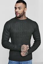 NEW Boohoo Mens Fine Knit Cable Jumper in Acrylic