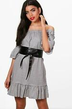 NEW Boohoo Womens Erin Belted Gingham Off Shoulder Dress in Polyester