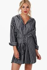 NEW Boohoo Womens Anna Corset Lace Up Waist Stripe Shirt Dress in Polyester