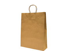 50/250 x KRAFT Brown Paper Carry Bags with Handle Shopping MEDIUM 420x320x110mm
