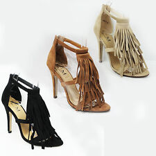 WOMENS LADIES STRAPPY HIGH HEELS OPEN TOE TASSEL ANKLE SANDALS SHOES SIZE 3-8