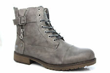 MUSTANG FUR LINED LACE UP BIKER BOOTS Grey