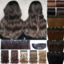 Real Thick AS Human Hair 1Pcs 3/4Full Head Clip In Hair Extensions Straight Wavy