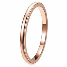 Tungsten  Carbide Wedding Ring Women Plated Rose Gold Band Engagement Fashion