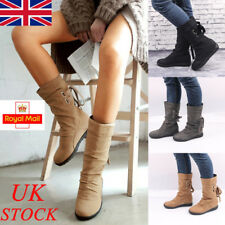 UK New Womens Mid-Calf Back Lace Up Boot Ladies Flat Heel Buckle Shoes Size 3-7