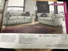 Chesterfield Sofa 2 3 Seater Suite Silver Grey Crushed Velvet Fabric Legs Feet