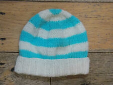 Brand New Hand Knitted Blue And White Striped Baby hat 0-3 / 3-6 / 6-9 Months