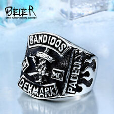 Men's Biker 316L Stainless Steel Motorcycle Club Ring Outlaw Ring Size 7-13