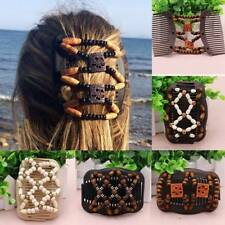Easy Magic Wood Beads Double Hair Comb Clip Stretchy Women Hair Accessories Z