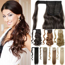 Long Straight Curly Ponytail Real As Remy Human Clip In Hair Extensions Brown US