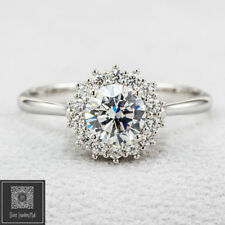 9K Solid Real White Gold 1.0ct Round lab Diamond Cluster Engagement Wedding Ring